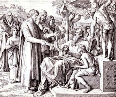 Иллюстрации к Библии Юлиуса Ш. фон Каролсфельда. Иов, 42:12-15